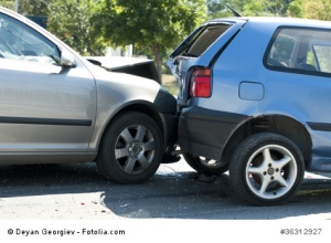 Two crashed cars