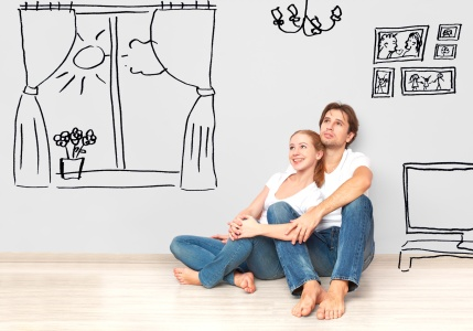 Concept : happy couple in  apartment dream and plan interior