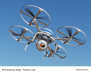 Surveillance drone flying